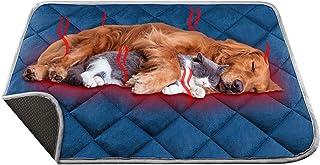 Manta Autocalentable para Gatos & Perros, 90x60cm Talla Grande Almohadilla Térmica Impermeable Antideslizante Lavable Plegable sin Electricidad Ecológico Self Heating Pad para Mascotas, Azul