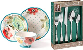The Pioneer Woman 12-Piece Decorated Dinnerware Set bundle with The Pioneer Woman Alex Marie 20-Piece Stainless Steel Flatware Set