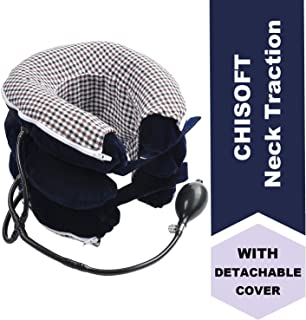 No1 Neck Traction Device + Washable Cover, ChiSoft Neck Stretcher, Doctors Recommended Cervical Traction Unit for Neck Pain Relief, Helps Correct Posture