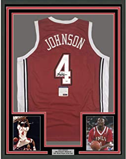 Framed Autographed/Signed Larry Johnson 33x42 UNLV Red College Basketball Jersey PSA/DNA COA