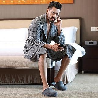 ZLR 新しいセクションのバスローブ長袖チェック柄の家庭用寝間着春秋シーズンパジャマ男性肌にやさしいバスローブ ( サイズ さいず : Xl xl )