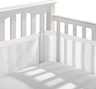 BreathableBaby Deluxe Breathable Mesh Crib Liner – White and Muslin Trim
