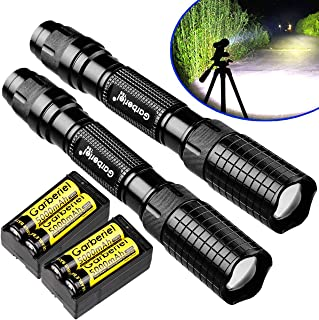 Garberiel 2 Pack of 3000 Lumes Black Tactical LED Flashlight outdoor 5 Modes Waterproof Torch Lamp Lights with Batteries and Chargers