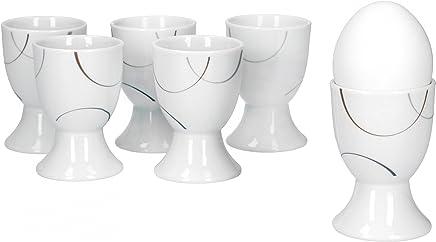 Preisvergleich für Van Well Salerno 6er Set Eierbecher, rund Ø 4,8 cm, H 7,0 cm, Halbkreisdekor, edles Marken-Porzellan