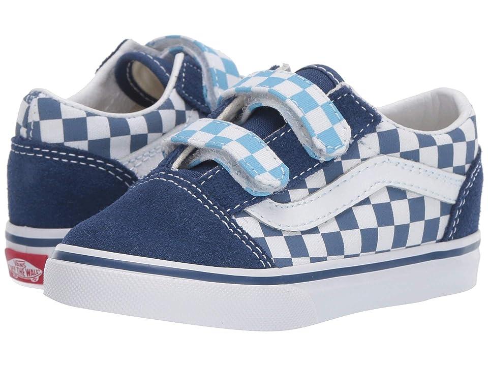Vans Kids Old Skool V (Toddler) ((Checkerboard) True Navy/Bonnie Blue) Boys Shoes