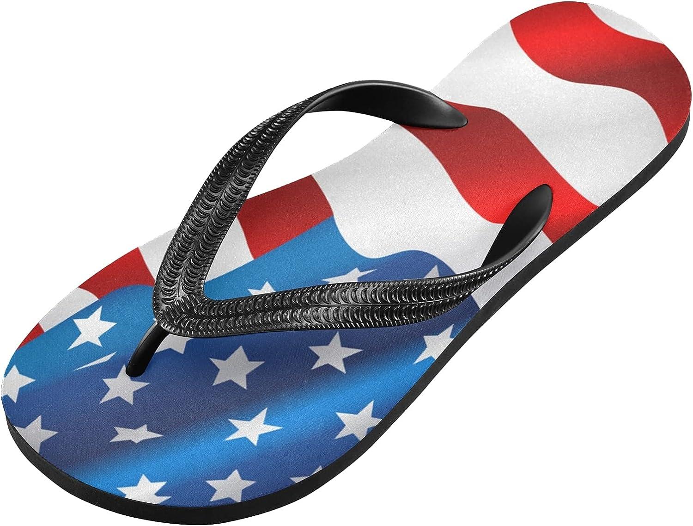 Qilmy Striped American Flag Flip Flop Casual Lightweight Non-slip Summer Sandals Women's Men Slippers,S