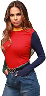 Floerns Women's Colorblock Mock Neck Long Sleeve Slim Fit Shirt Tee Tops