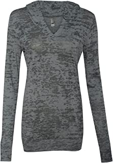 Next Level Preshrunk Rib-Knit Burnout Hooded Jersey T-Shirt, Dark Gray