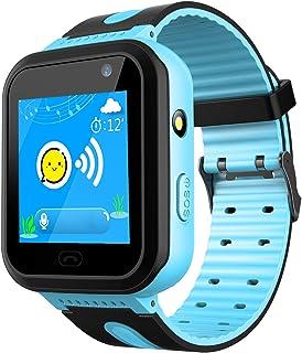 GPS Track Watch para niños - SmartWatch Phone con localizador GPS/LBS Cámara SOS Linterna Chat de Voz Juego de matemáticas Contador de Pasos Geo Fence Relojes para niños (Azul Impermeable)