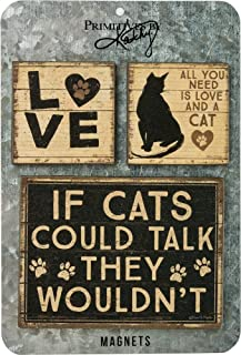 Primitives by Kathy Magnets, Wood, All You Need is Love and a Cat, Set of 3
