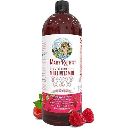 Morning Liquid Vitamins by MaryRuth's (Raspberry) Vegan Multivitamin A B C D3 E Trace Minerals & Amino Acids for Energy, Hair, Skin & Nails for Men & Women - Paleo - Gluten Free - 0 Sugar - 32oz