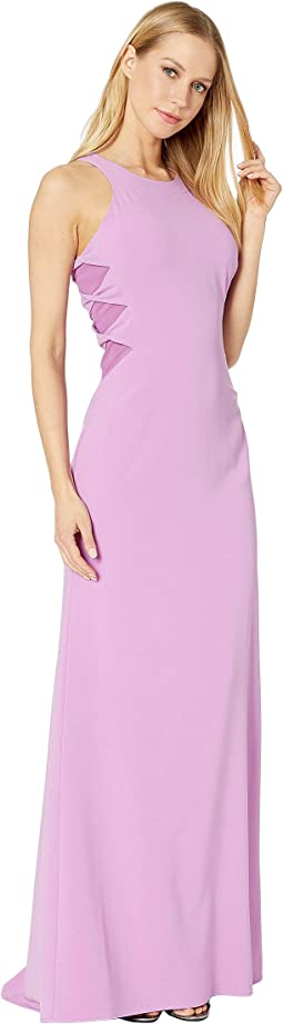 Sleeveless High Neck Crepe Gown with Twist Detail