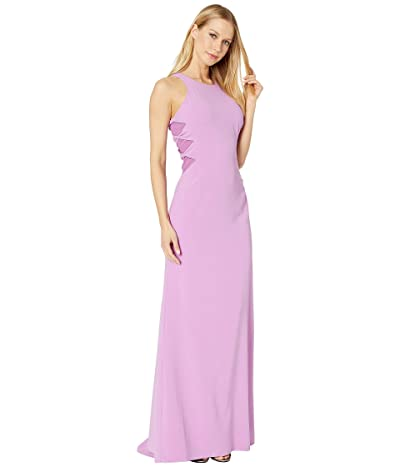 Halston Heritage Sleeveless High Neck Crepe Gown with Twist Detail (Tulip 1) Women