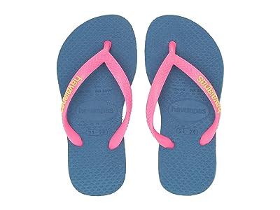 Havaianas Kids Slim Logo Pop-Up Flip Flops (Toddler/Little Kid/Big Kid) (Blue) Girls Shoes