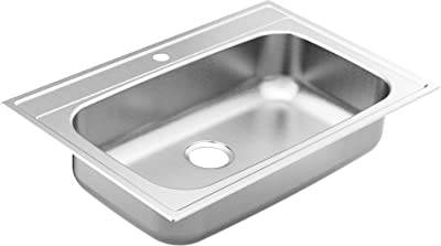 Moen GS181631BQ 1800 Series 33-inch 18 Gauge Drop-in Single Bowl Stainless Steel Kitchen Sink, 7-inch Depth, Featuring QuickMount