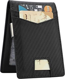 Slim Minimalist Front Pocket Wallet with Money Clip for Men, Genuine Leather RFID Blocking