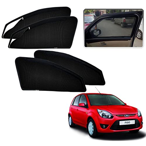 Kozdiko Zipper Magnetic Sunshade Mesh Material For Ford Figo Old Before 2015 (Set Of 4 Pcs)