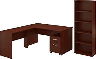 Bush Furniture Commerce 60W L Shaped Desk with Mobile File Cabinet and Bookcase in Autumn Cherry