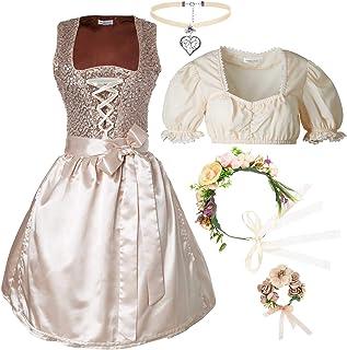 dressforfun dressforfun 950012 Damen Trachtenset, 5-teilig, Glitzerndes Dirndl  beige Trachtenbluse mit Halskette, Armschmuck und Blumenkranz - Diverse Größen