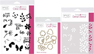Gina K Designs Stamp n Stencil - Petals & Wings - Clear Stamps, Steel Dies, Detail Stencil and Stamp Storage Pocket