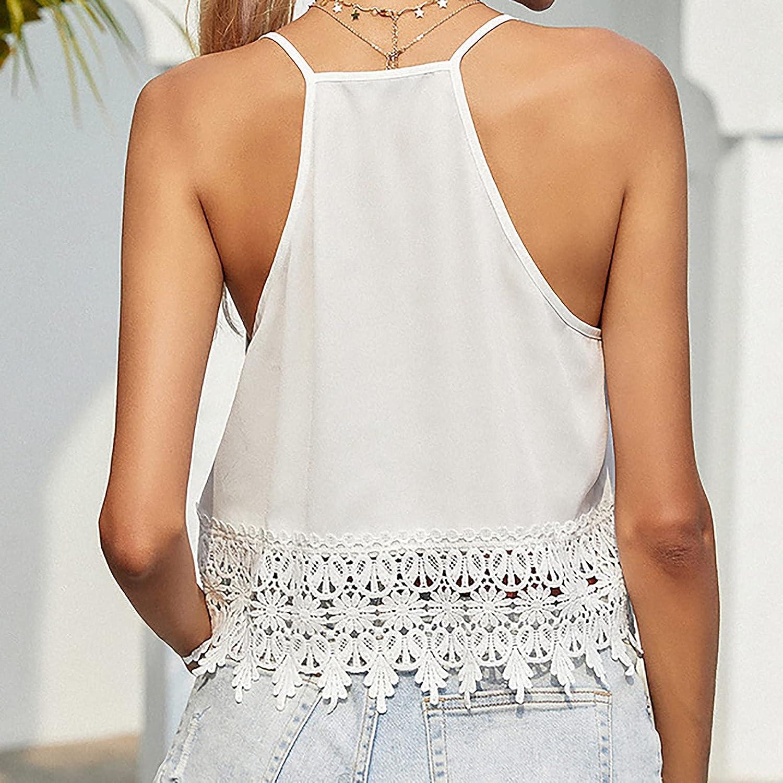 Women Camisole Tank Tops,Black Sexy Sleeveless Hollow Tassel Lace Crop Tee Summer Spaghetti Strap Girl Shirt Blouse