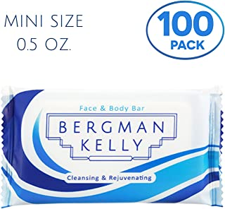 BERGMAN KELLY Travel Soap Bars (White Tea, 0.5 oz, 100PK), Travel Size Luxury Bulk Hotel Bar Soap; Mini Individually Wrapped Soap Hotel Toiletries for Airbnb, Motel, Guest Bathroom