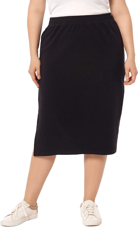 ZERDOCEAN Women's Plus Size Solid Basic Below Knee Stretchy Casual Split Side Midi Skirt