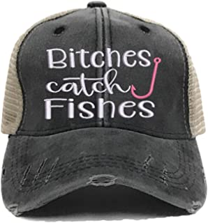 Bitches Catch Fishes Women's Funny Custom Distressed Fishing Trucker Hat Embroidered Baseball Cap