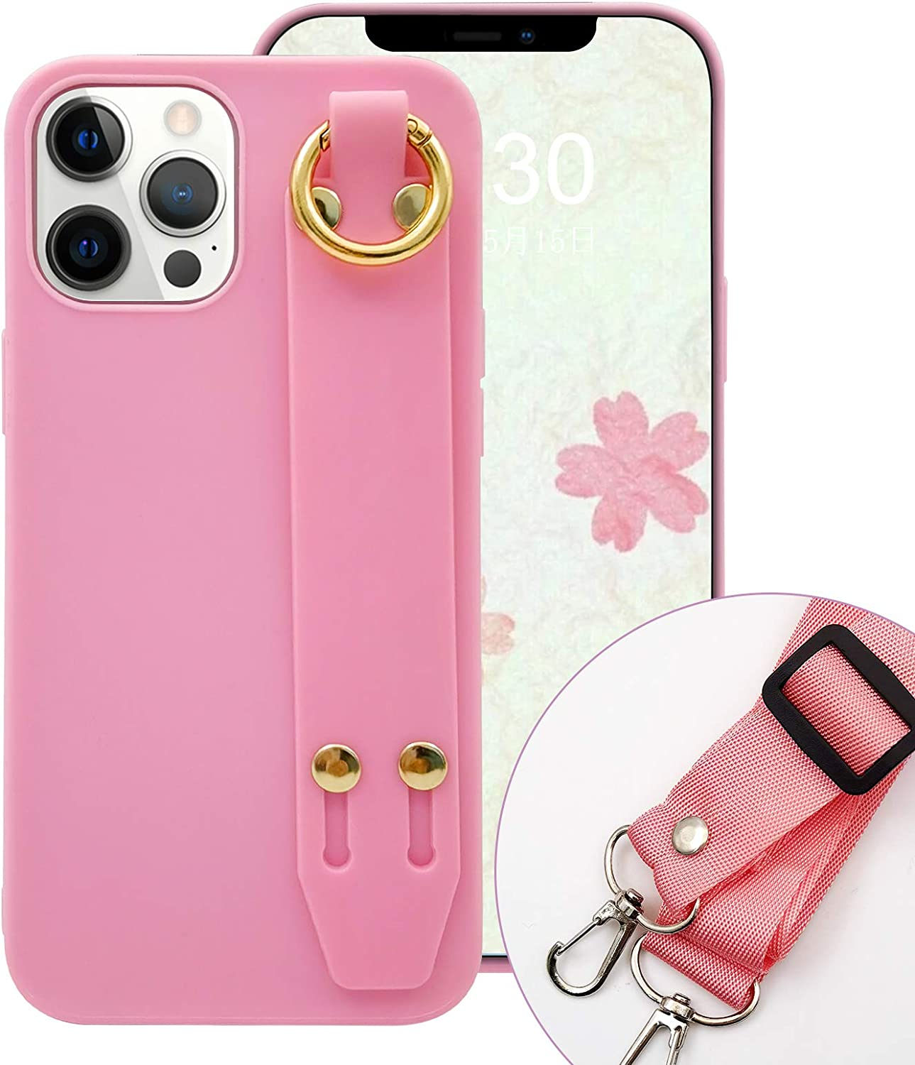 Omorro for iPhone 12 Pro Kickstand Case, Soft Silicon Gel Ring Holder Hand Strap Crossbody Adjustable Detachable Necklace Slim Flexible TPU Shockproof Protective Elegant Cover Phone Case Pink