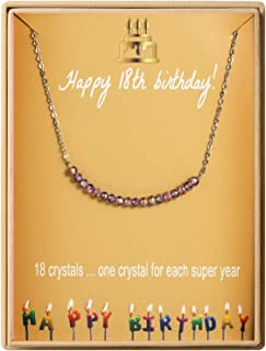 18th Birthday Gifts Necklace for Girls S925 Sterling Silver Necklace 18 Crystal Beads for 18 year old Girl Jewelry Gift for Her
