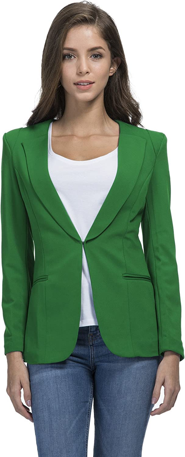 SHUIANGRAN Fall Winter Slim Office Suit Blazer for Women Green US 6 (tag Asian XL)