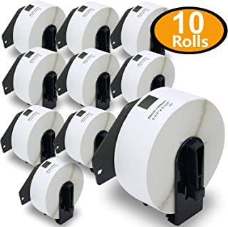 """BETCKEY - Compatible DK-1201 Standard Address 1-1/7"""" x 3-1/2""""(29mm x 90mm) Replacement Labels,Compatible with Brother QL Label Printers[10 Rolls/4000 Labels with Refillable Cartridge Frame]"""