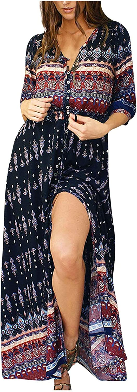 Dress for Women V Neck Side Split Tie Dye Maxi Dress with Pocket Summer Casual Sundress Party Tank Tunic Long Dress Plus