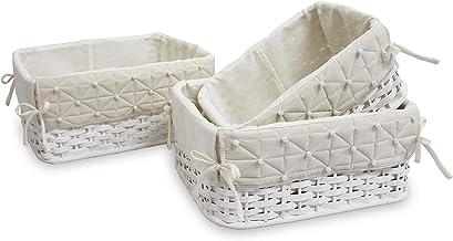 Juego de 3 cestas para armario de bambú blanco 103-B24