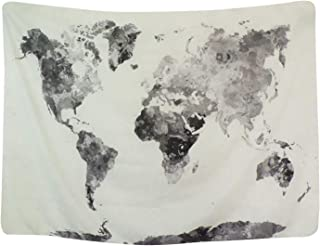 BLEUM CADE Watercolor World Map Tapestry Multi Splatter Abstract Painting Wall Hanging Art for Living Room Bedroom Dorm Home Decor 82X59 Inches
