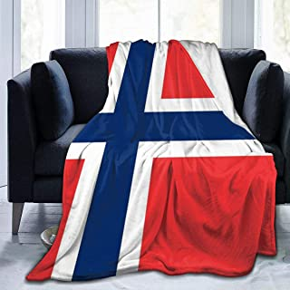 Large beach Norwegian Flag Cozy-Soft Microfleece Travel Blanket,Great for Travel Or Lounging at Home 50X40 Inch