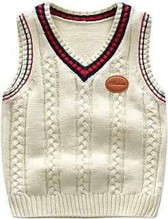 91b527adbac86 Gilet Garçon Enfant Débardeur en Tricot à Motifs Géométrique sans Manches  Col V Classique Pull Sweater