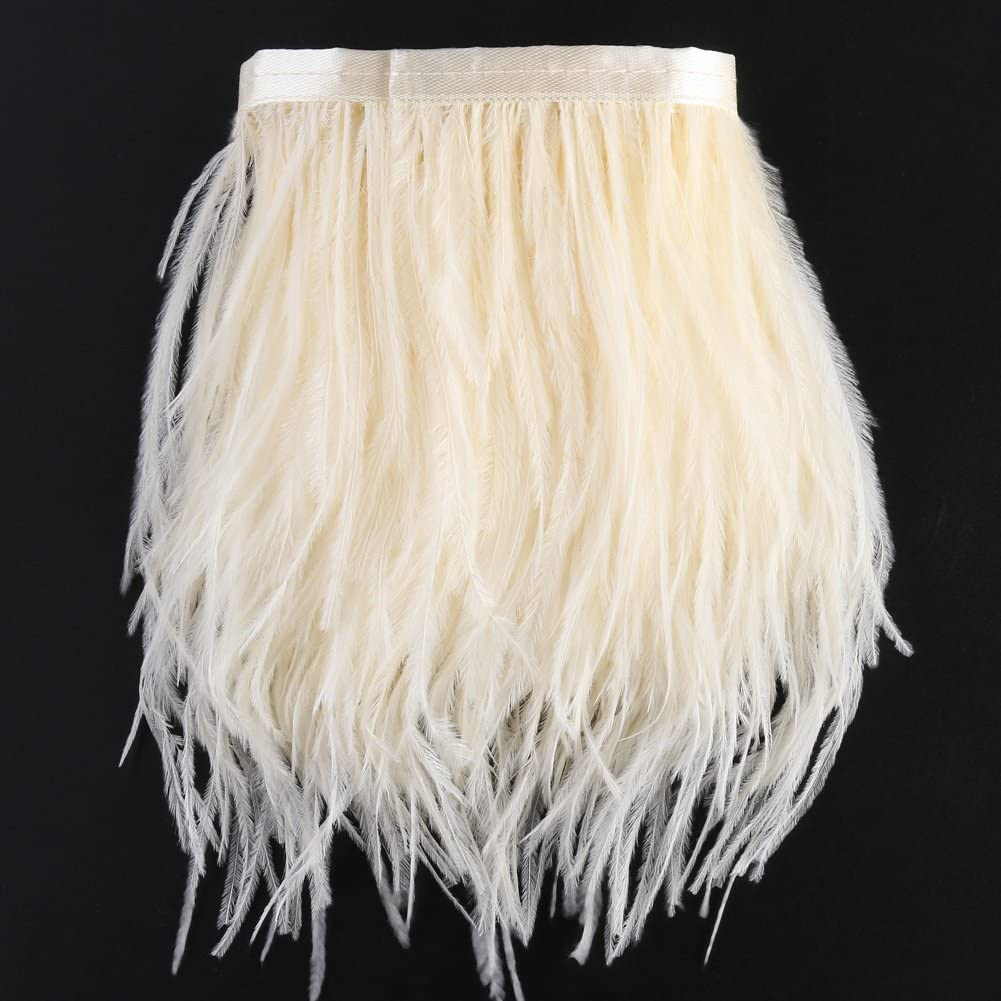 for Dress Sewing Crafts Costumes Decoration Beige 2 Yards Ostrich Feathers Trims Fringe