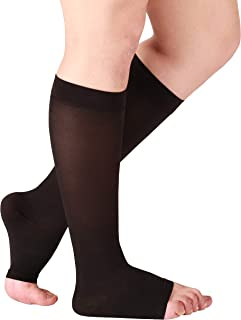 Essentials Compression Socks Made in The USA - Opaque Compression Stockings for Woman - Open Toe - Support Socks for Men - Firm Support 20-30mmHg - 1 Pair Size XXX-Large, Black