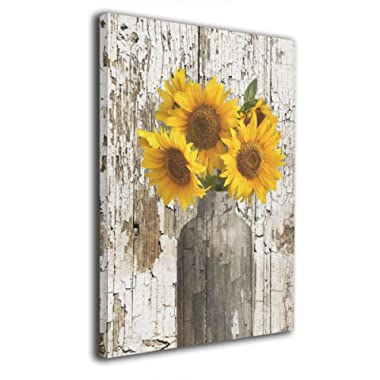 Lureu Rustic Yellow Sunflower in Vase Farmhouse Cottage Countryside Canvas Wall Art Prints,Framed Picture Photo Painting Giclee Artwork,Modern Gallery Home Decor Ready to Hang 16 X20