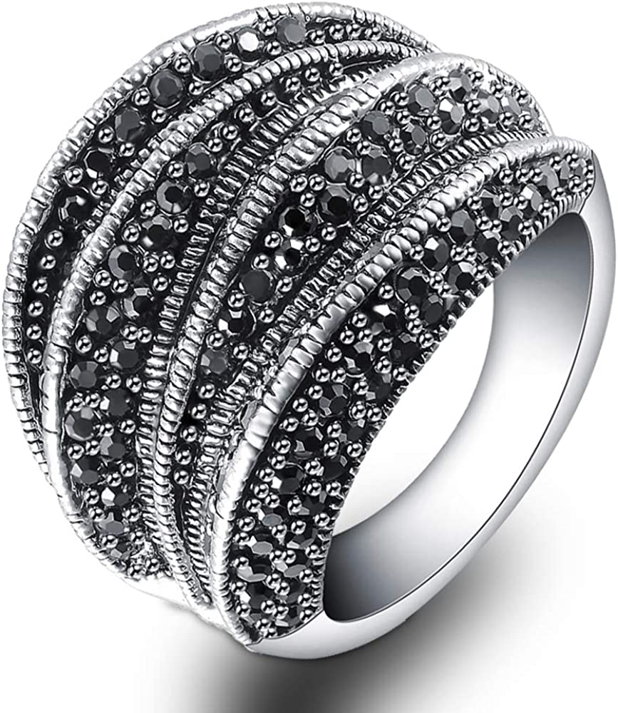Mytys Marcasite Rings for Women Retro Black Onyx Cocktail Ring Big Rings for Women