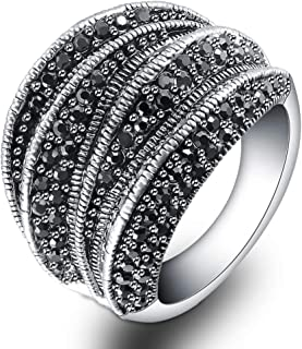 Vintage Fashion Silver Rings Retro Black Marcasite Cluster Cocktail Big Ring Wide Bands for Women