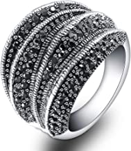 Mytys Retro Black Rings Big Marcasite Cluster Cocktail Statement Ring for Women