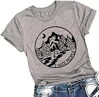 Womens I Hate People Shirt Casual Vacation Hiking Camping Graphic Tees