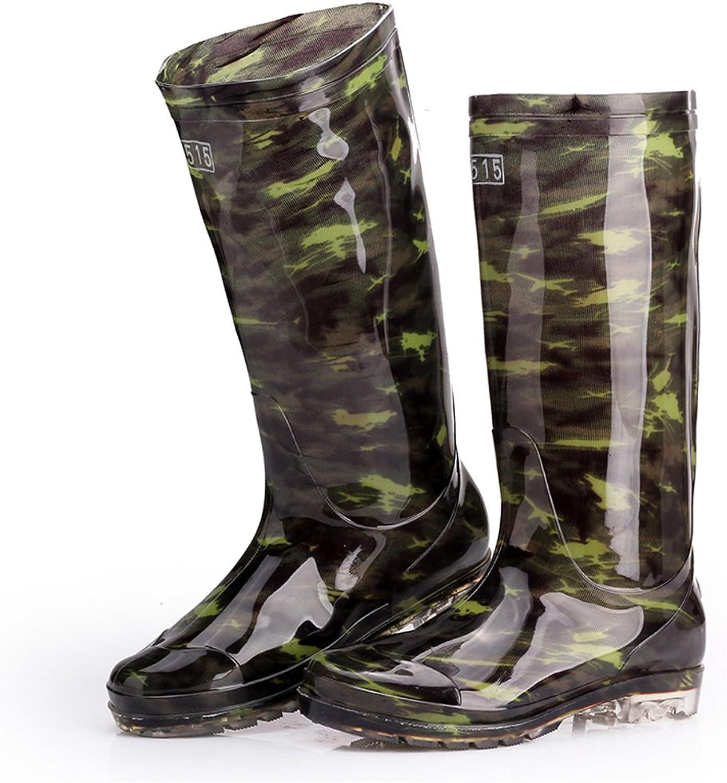 ZXCVBNM Labor Predection Boots Men's High Boots Waterproof Non-Slip Wear Rain Boots Work