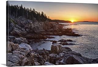 Rocks on The Coast at Sunrise, Little Hunters Beach, Acadia National Park, Maine Canvas Wall Ar.