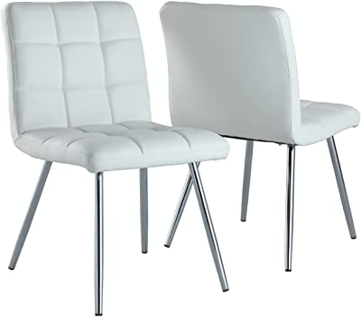 bcd52bf8812d Monarch Specialties White Leather-Look Chrome Metal 2-Piece Dining Chair