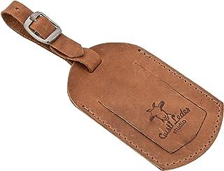 Etiquette /à bagagesVictoria /Étiquette bagage r/étro en cuir de buffle Marron fonc/é 2A141-22-6 Gusti Cuir studio