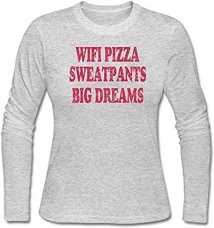 MUAIKEJI Women WiFi Pizza Sweatpants Big Dreams Long Sleeve T-Shirt