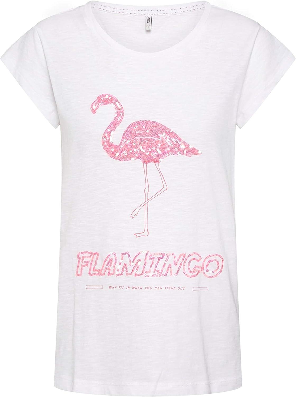 Only Camiseta Flamingo Blanca Mujer M Blanco: Amazon.es: Ropa